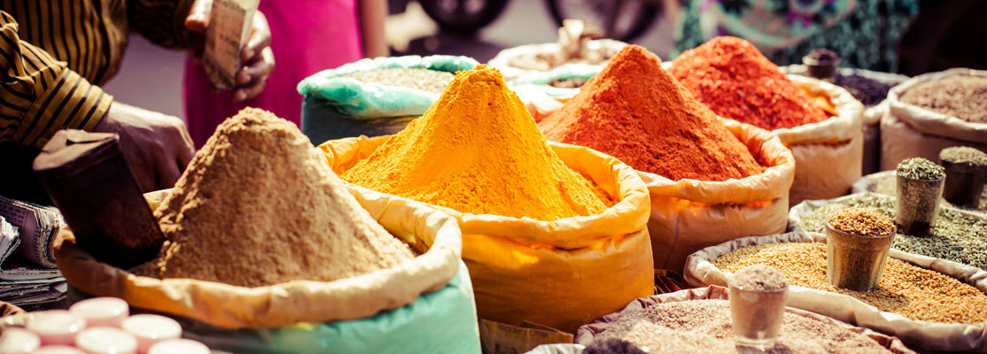 Colorful Indian spices at a market in India
